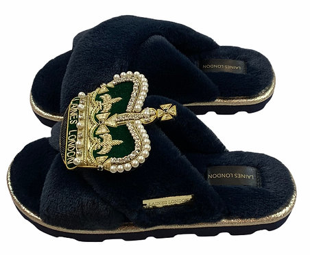 Ultralight Chic  Slippers / Sliders with Deluxe Green Crown Brooch