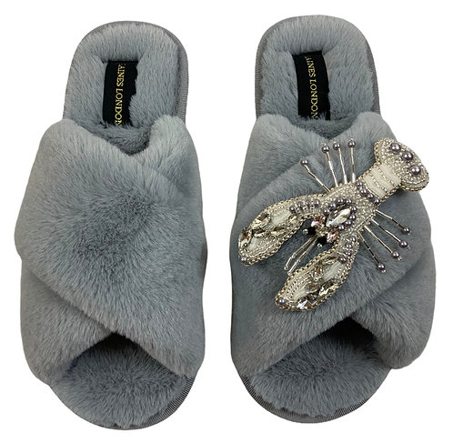 Grey Fluffy Slippers Pearl and Crystal Lobster Brooch