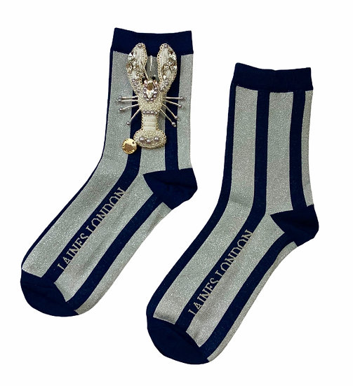 Navy & Silver Shimmer Stripe Socks With Artisan Silver Lobster Brooch
