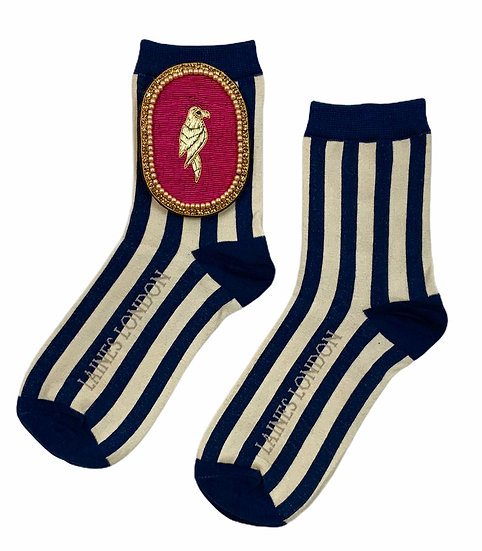 Navy & Cream Stripe Cotton Socks With Deluxe Artisan Hot Pink Parrot Brooch