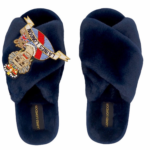 Navy Fluffy Slippers with LUXE Queen Brooch