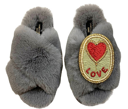 Laines Luxe Fluffy Grey Slippers With Love Balloon Brooch
