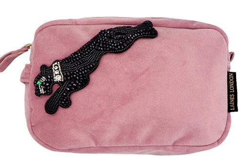 Blush Pink Velvet Bag With Jet Panther Brooch