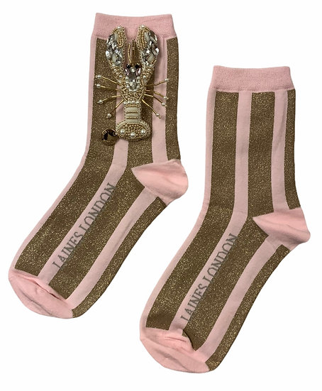Pink & Gold Shimmer Stripe Cotton Socks With Artisan Pearly Gold Lobster Brooch