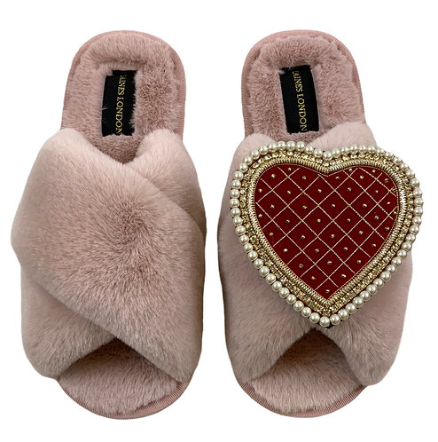 Pink Fluffy Slippers with Deluxe Red Quilted Heart Brooch