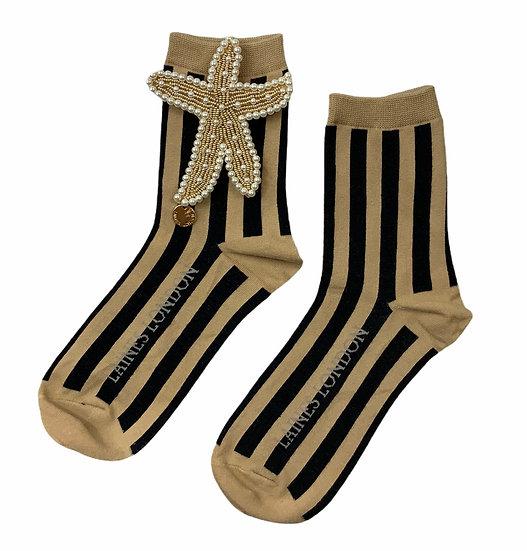 Beige & Black Stripe Cotton Socks With Artisan Pearl & Gold Starfish Brooch