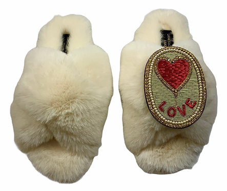 Laines Luxe Fluffy Cream Slippers With Love Balloon Brooch