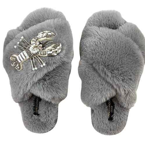 Laines Luxe Fluffy Grey Slippers With White Crystal Lobster Brooch