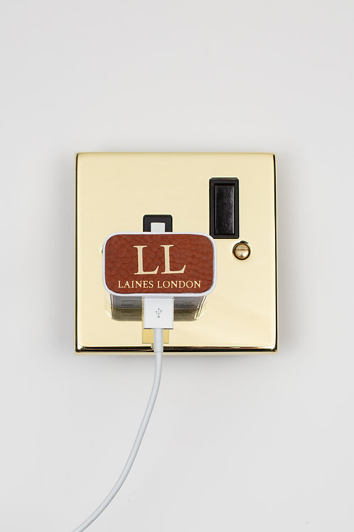 Personalised Leather Samsung Charger Sticker - Tan