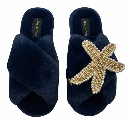 Navy Fluffy Slippers Pearl & Gold Starfish Brooch