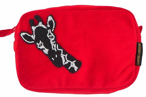 Laines London Red Velvet Bag With Monochrome Giraffe Brooch
