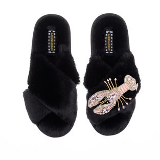 Artisan Pearl & Pink Lobster on Black Classic Slippers
