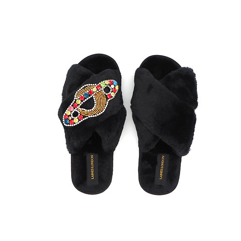 Black Fluffy Slippers With Planet Brooch