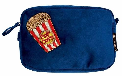 Laines London Luxe Navy Velvet Bag With Deluxe Popcorn Brooch