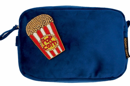 Laines London Luxe Navy Velvet Bag With Deluxe Popcorn Brooch