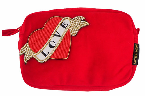 Laines London Luxe Red Velvet Bag With Deluxe Red Heart Tattoo Brooch