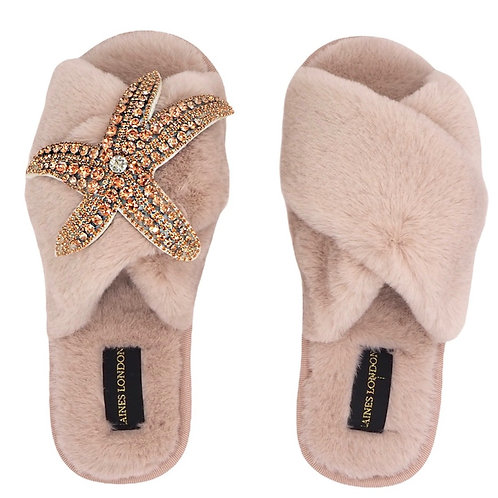 Pink Fluffy Slippers Rose Gold Starfish Brooch