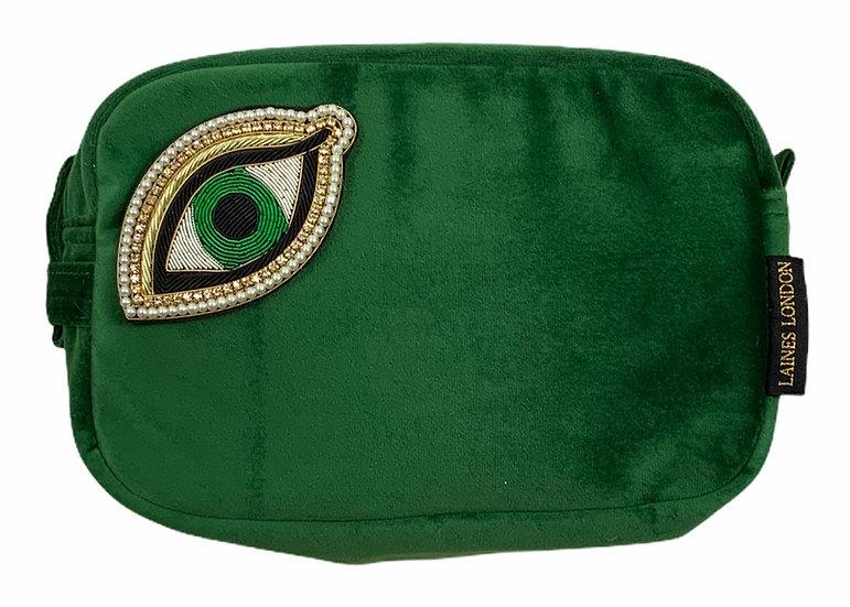 Laines London Green Velvet Bag With Artisan Green Eye Brooch