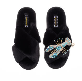 Artisan Pearl & Blue Lobster on Black Classic Slippers