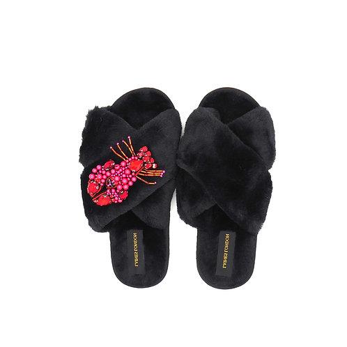 Black Fluffy Slippers Beaded Lobster Brooch