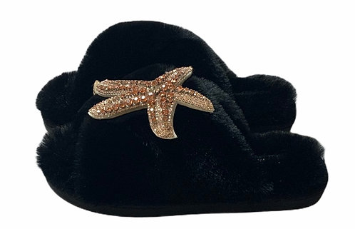 Laines Cloud Black Slippers with Rose Gold Starfish - WIDE FIT