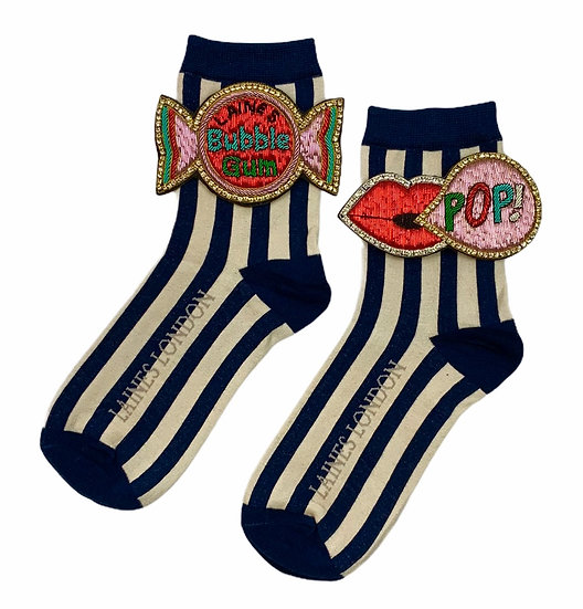Navy & Cream Stripe Cotton Socks With Double Deluxe Bubble & Pop Brooches