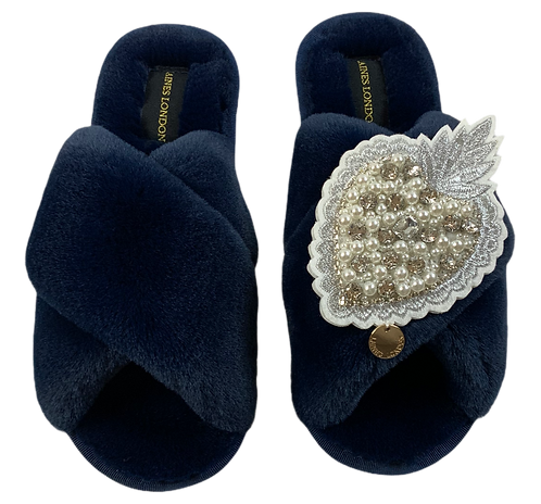 Navy Fluffy Slippers with Pearl and Diamond Heart