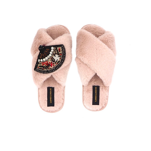 Pink Fluffy Slippers With Fan Brooch