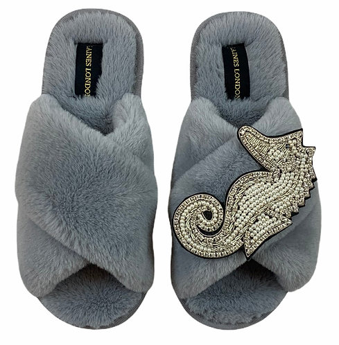 Classic Laines Slippers with Deluxe Crystal and Pearl silver Seahorse Brooch