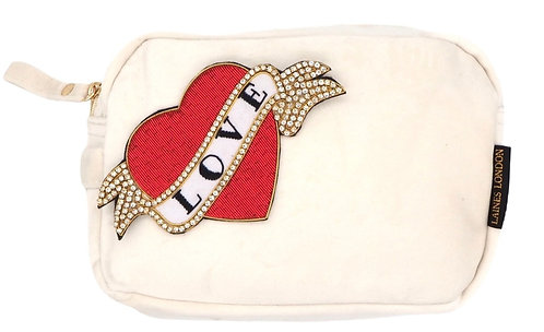 Laines London Luxe Cream Velvet Bag With Deluxe Red Heart Tattoo Brooch