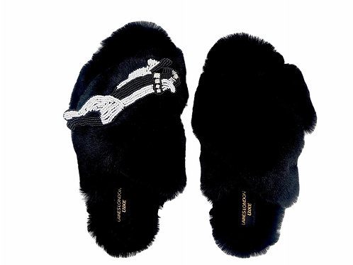 Laines Luxe Fluffy Black Slippers With Monochrome Panther Brooch