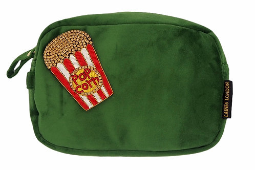 Laines London Luxe Green Velvet Bag With Deluxe Popcorn Brooch