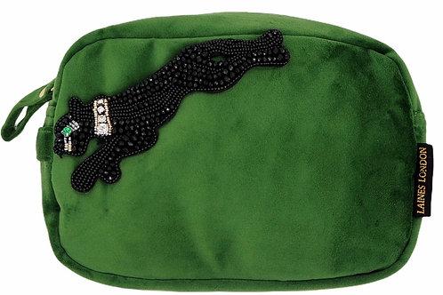 Green Velvet Bag With Jet Panther Brooch