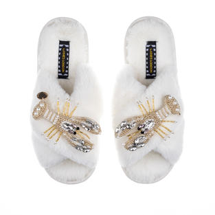 Artisan Double Pearl & Gold Lobster on Cream Classic Slippers