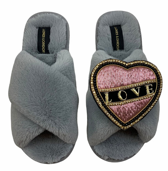 Classic Laines Slippers with Deluxe Pearl Pink and Black Love Brooch