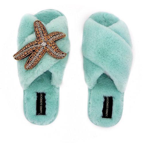 Aqua Blue Fluffy Slippers Golden Starfish Brooch