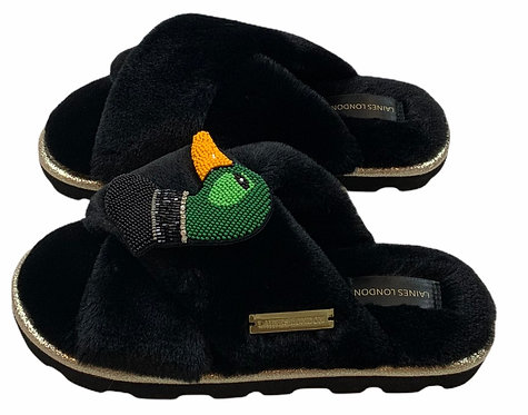 Ultralight Chic Slippers / Sliders with Deluxe Duck Brooch