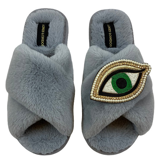 Classic Laines Slippers with Deluxe Green Eye Brooch