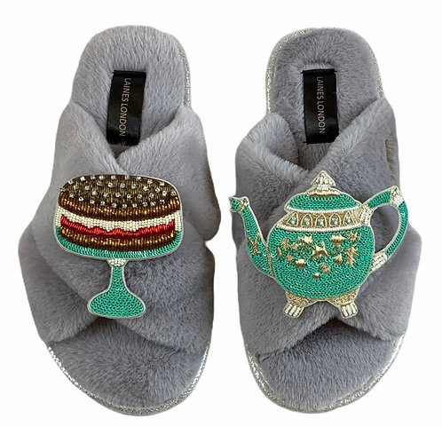 Ultralight Chic Slippers / Sliders With Premium Deluxe Afternoon Tea Brooches