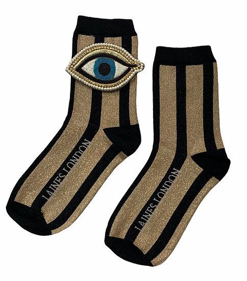 Black & Gold Shimmer Stripe Socks With Artisan Blue Eye Brooch