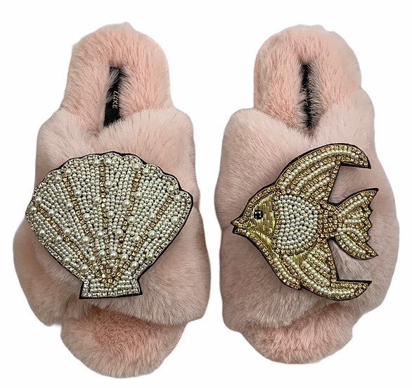 Laines Cloud Pink Slippers / Double Artisan Pearl & Gold Seashell & Angel Fish