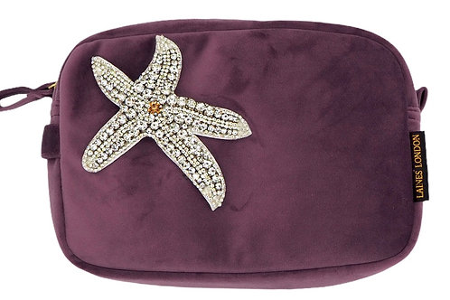 Aubergine Velvet Bag With Silver Starfish Brooch