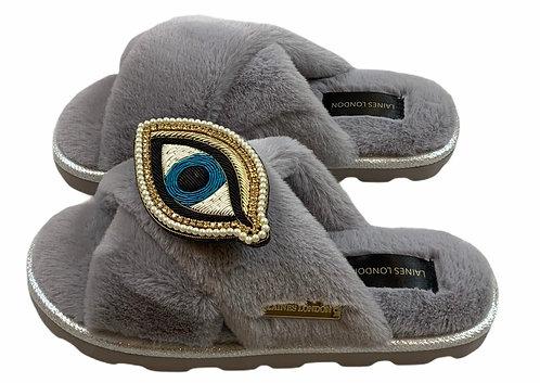 Ultralight Chic Slippers / Sliders With Artisan Blue Eye Brooch