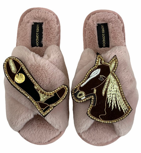 Classic Laines Slippers with Double Deluxe Riding Boot & Chestnut Horse Brooches