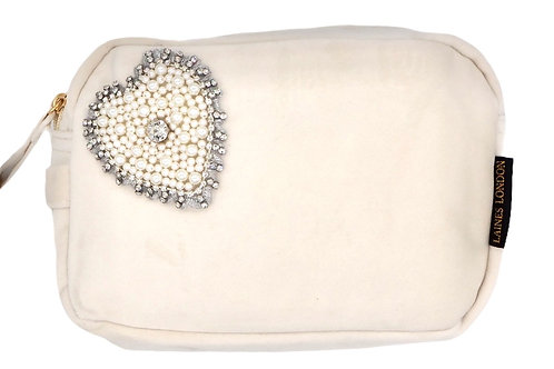 Laines London Cream Velvet Bag With Pearl & Diamond Heart Brooch