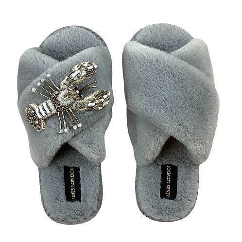Grey Fluffy Slippers White Lobster Brooch