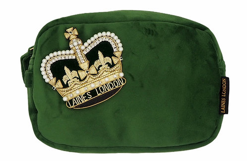 Laines London Luxe Green Velvet Bag With Deluxe Crown Brooch