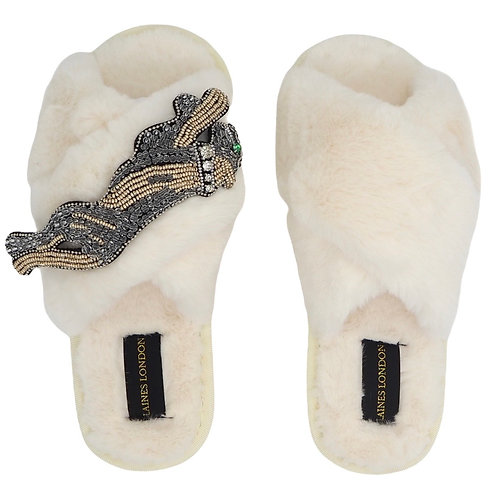 Cream Fluffy Slippers with Platinum Panther