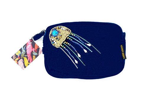 Navy Blue Velvet Bag With Crystal Jellyfish  Brooch