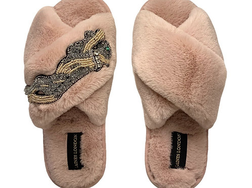 Pink Fluffy Slippers with Platinum Panther
